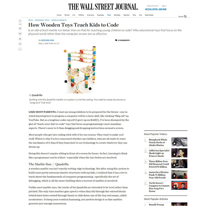 Quadrilla Featured in the Wall Street Journal - Article Promotes Quadrilla as Wooden Toys Teach Kids to Code