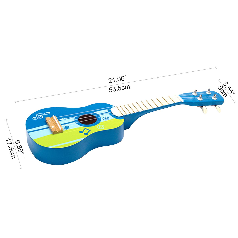 Hape Kindergitarre aus Holz Gitalele Blaue Lagune Holzspielzeug