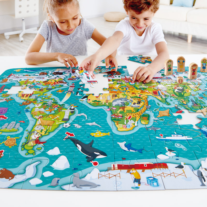 2 In 1world Tour Puzzle And Game E1626 Hape Toys